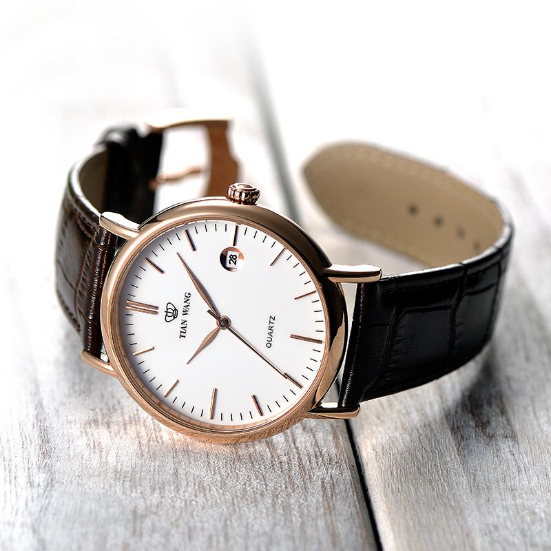 天王表简约皮带手表潮流男士皮带手表时尚石英女表节日送礼情侣表