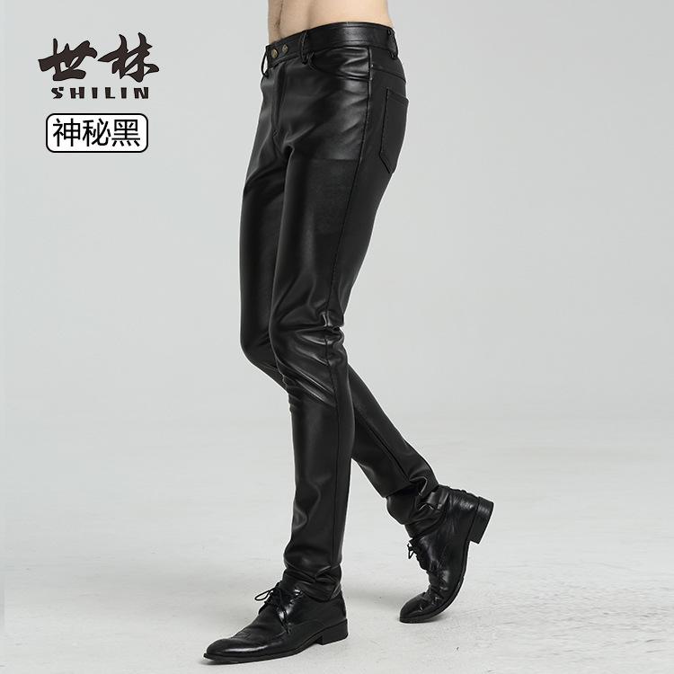 青少年黑色皮裤男薄款小脚修身韩版摩托车机车皮裤子男帅气春秋