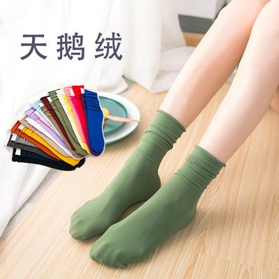 天鹅绒堆堆袜ins潮长袜子女薄款夏季春秋韩国日系长筒透气中筒袜