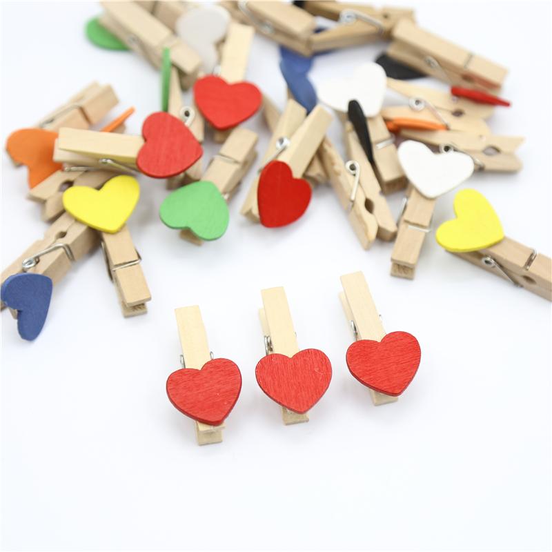 彩色木头夹子 DIY手工照片夹明信片照片墙爱心卡通木头小夹子包邮
