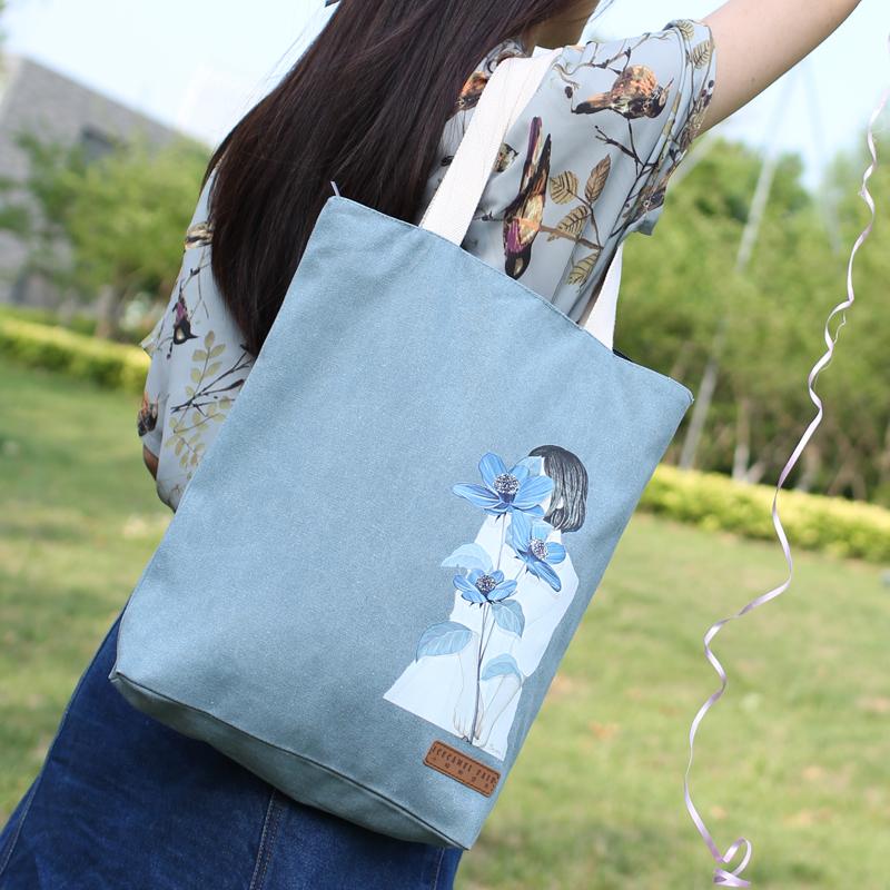 簡約韓國帆布包女生單肩手提包購物休閒包學生書包文藝布包袋