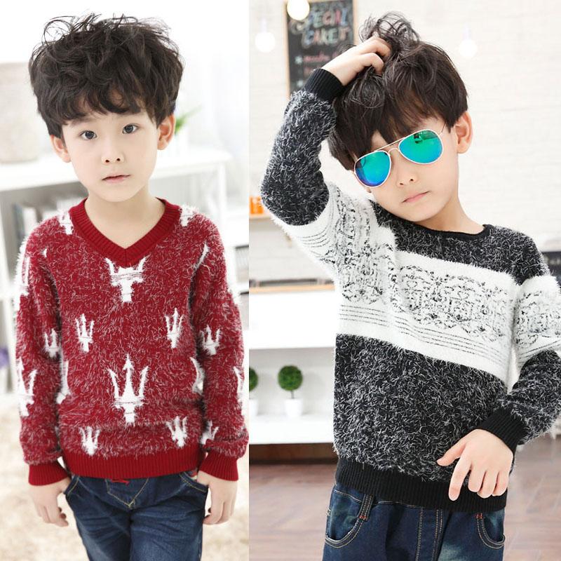男童儿童宝宝韩版潮加厚毛绒马海毛毛衣套头新款打底秋冬款羊毛衫