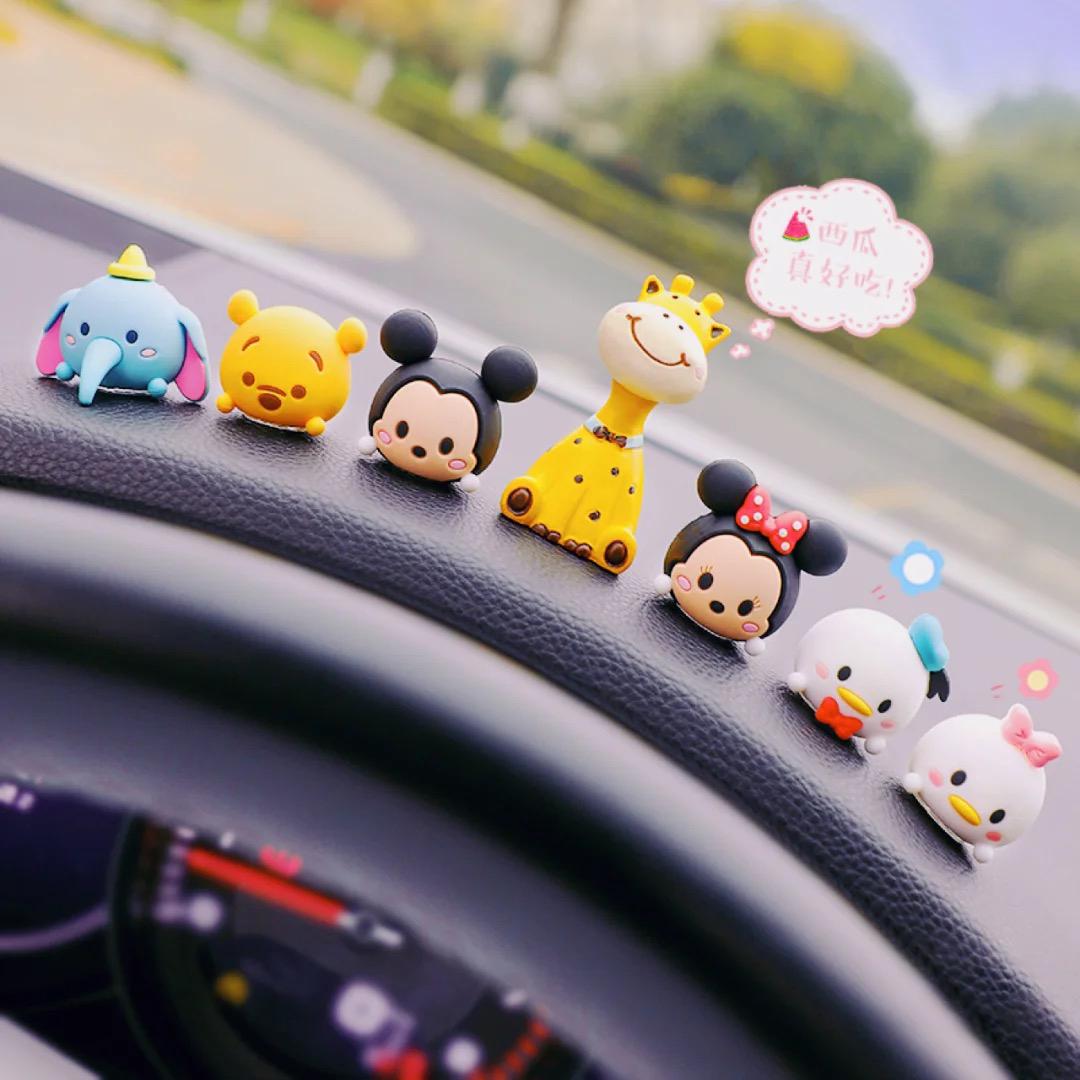 迪士尼汽车摆件车内装饰用品大全可爱车载中控台办公桌小公仔女款