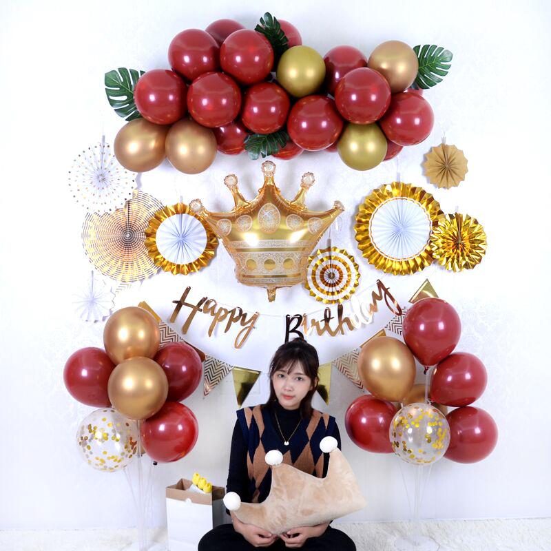 儿童宝宝成人生日快乐气球酒店KTV派对布置装饰铝膜卡通气球套餐