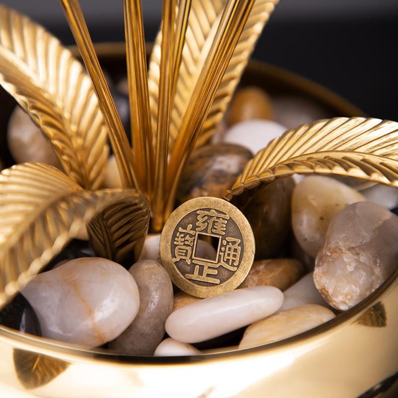 现代乔迁新居开业礼品轻奢高档新中式黄铜大麦摆件客厅玄关装饰品