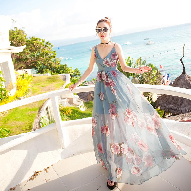 沙滩裙亲子装夏母女装海边度假长裙一家三口2019新款潮全家装母子