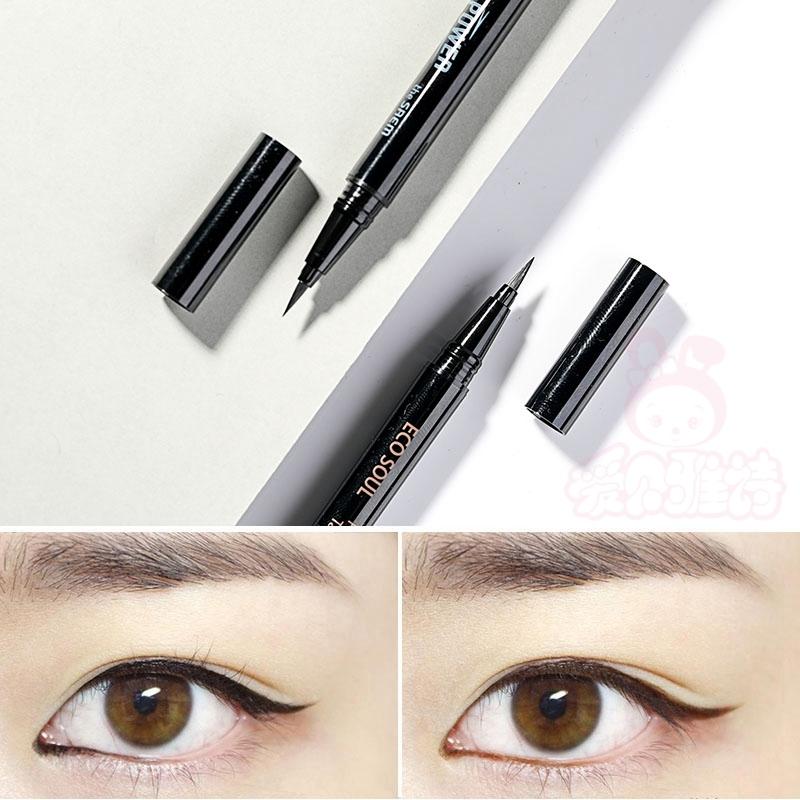 韓國得鮮ECO SOUL液體眼線液筆極細防水不暈染棕色初學者女偽素顏