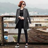 2019 Spring and Autumn new Korean long section of small suit jacket female black coat Ms. Slim was thin suit
