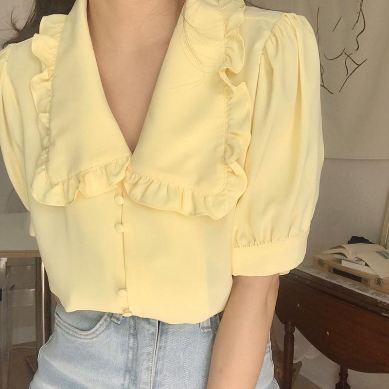 韩国chic夏季温柔黄显白娃娃领木耳边单排扣宽松短袖雪纺衬衫女