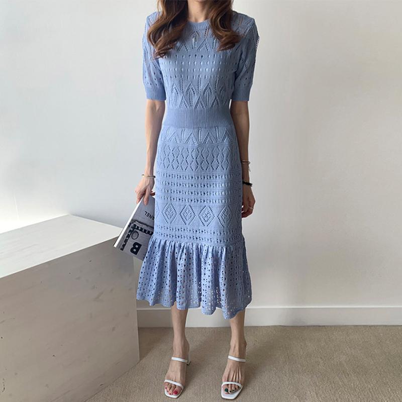 韩国chic温柔圆领镂空设计高腰修身显瘦冰丝针织包臀鱼尾连衣裙女