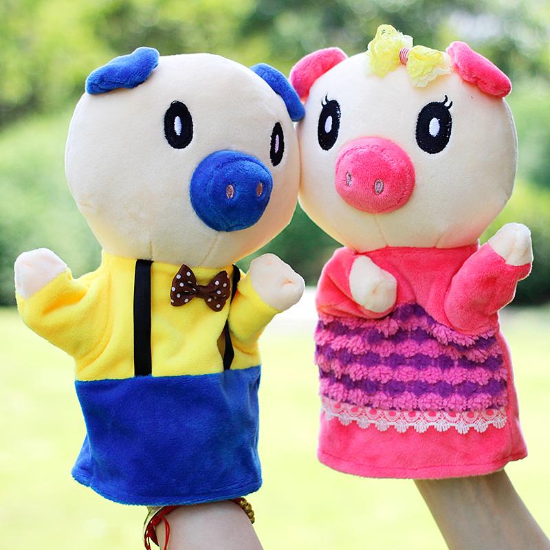 猪手偶玩具儿童早教讲故事三只小猪大灰狼毛绒手指偶玩偶厂家直销