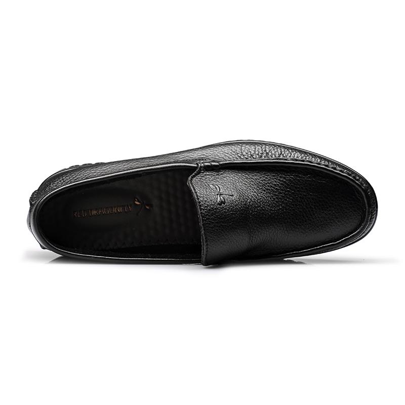 红蜻蜓男真皮休闲鞋头层牛皮软面皮透气男士青年潮流软底豆豆鞋