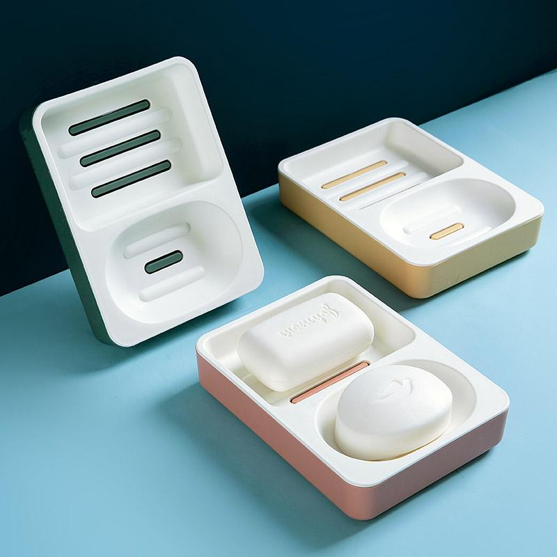 家用双层肥皂盒学生宿舍洗衣皂收纳盒创意大号双香皂格沥水置物架