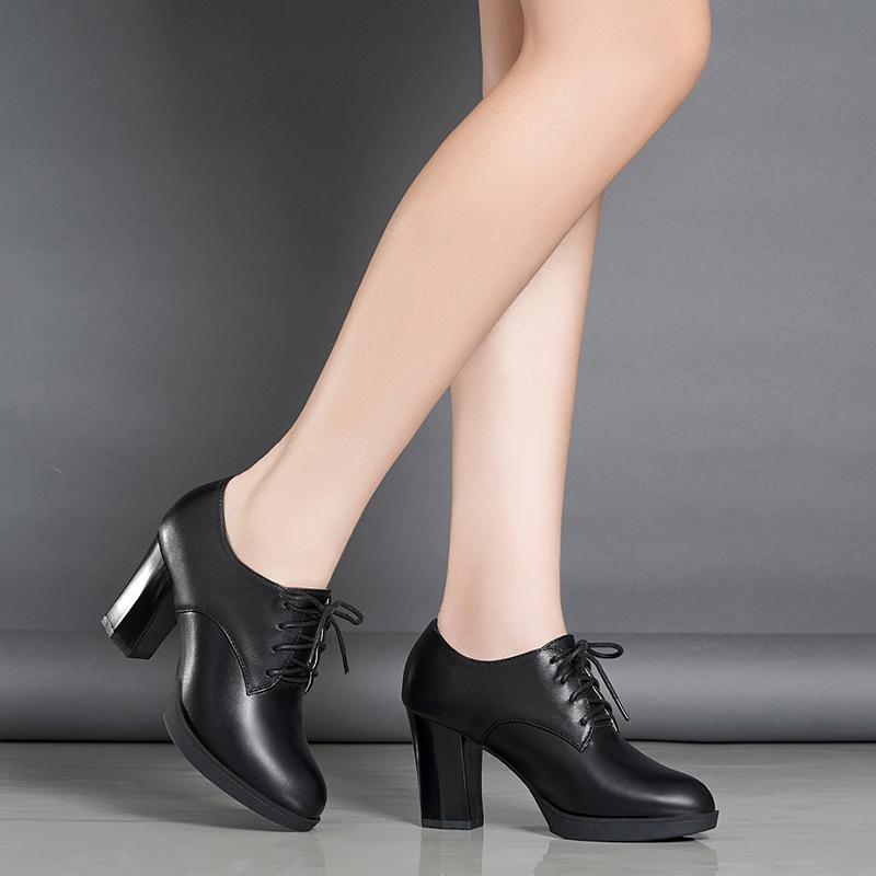 新款秋冬季粗跟系带短靴真皮加绒女鞋潮 2018 怡菲意尔康单鞋女高跟