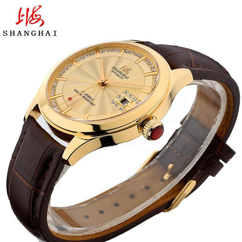 上海牌手表男全自动机械表防水休闲镶钻纪念国产正品皮带男士腕表