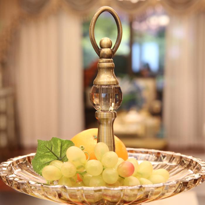 欧式水果盘客厅茶几摆件软装饰品玻璃双层果盘创意奢华干果盆家用