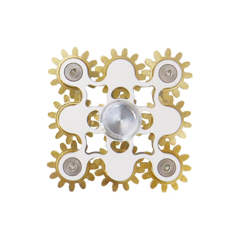 九齿轮联动指尖陀螺六角不锈钢三头六臂纯铜金属成人手中掌上陀螺
