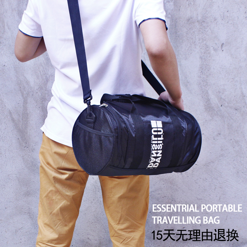 運動包男手提健身訓練包女單肩斜挎圓筒包出差短途旅行包小行李袋