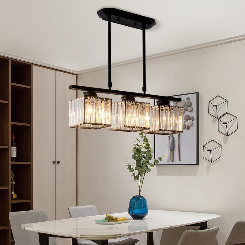 后现代简约方形水晶三头餐吊灯