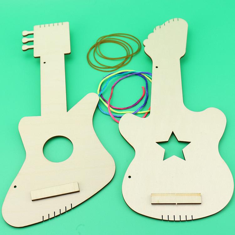 宝宝白坯木制吉他幼儿园自制乐器儿童手工diy材料包涂绘创意玩具