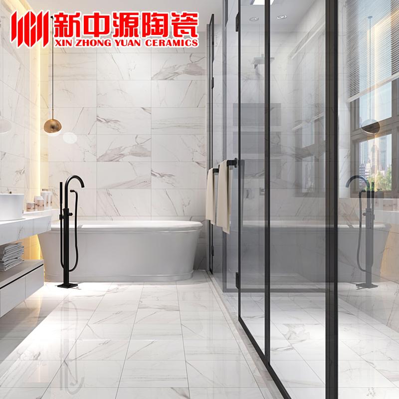 新中源简约现代卫生间瓷砖防滑地砖300x600厨房墙砖厨卫白色60215