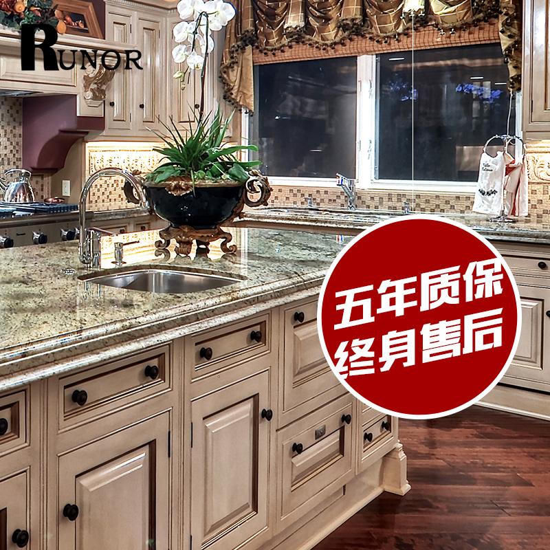北京润枫橱柜整体厨房定做美式乡村风格橱柜白色混油L型橱柜
