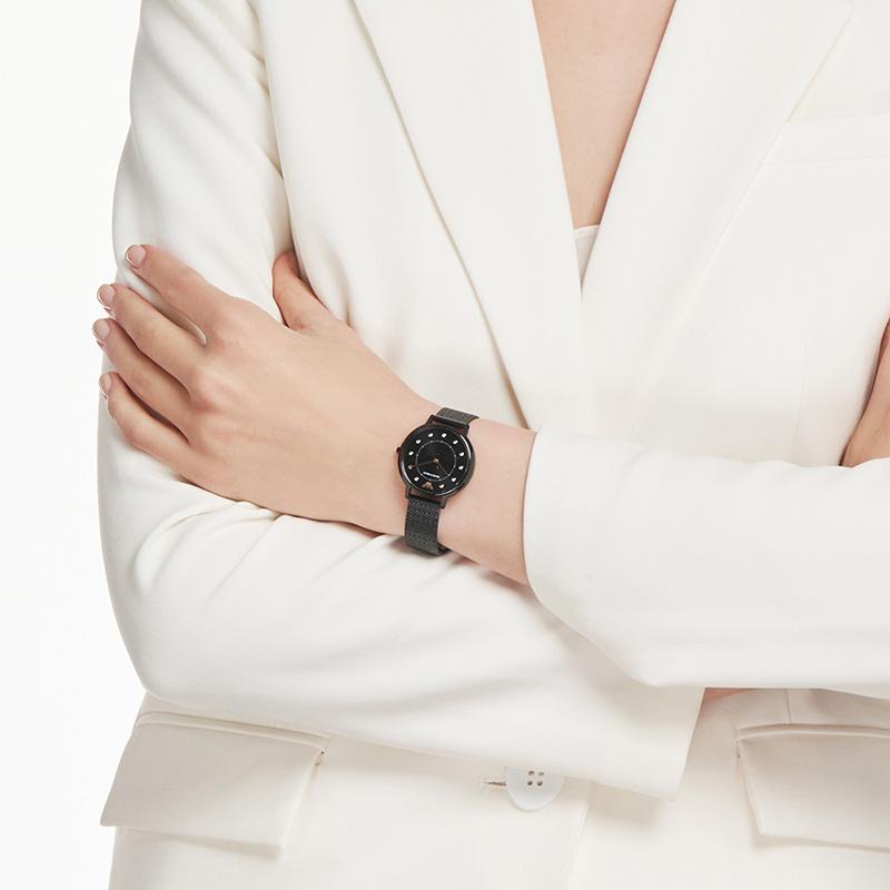 Armani阿玛尼官方正品黑色满天星手表女编织钢带女士腕表AR11252