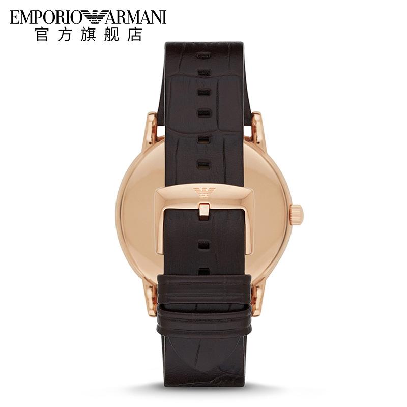 经典简约防水男士石英表 Armani 正品阿玛尼薄款皮带男手表 AR2502