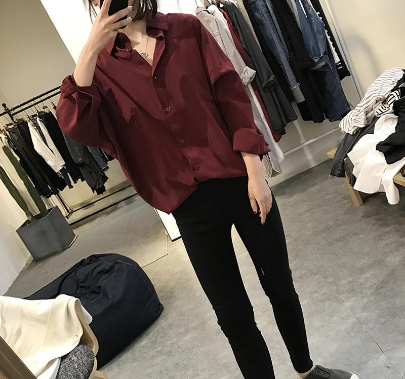蝙蝠袖衬衫女式中长款宽松大款显瘦丝质上衣欧洲站胖mm长袖雪纺衫