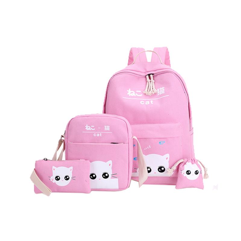书包小学生2-6年级女孩子可爱卡通猫双肩包校园简约公主帆布背包4