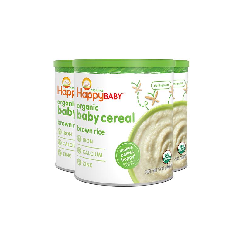 禧贝糙米米粉HappyBaby进口宝宝婴幼儿辅食有机米糊3罐装高钙铁锌