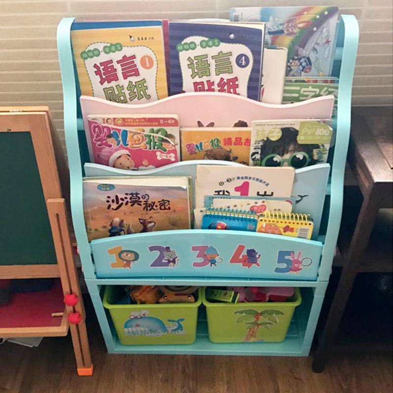 儿童小学生书架 宝宝卡通经济型幼儿园塑料简易绘本玩具收纳书柜
