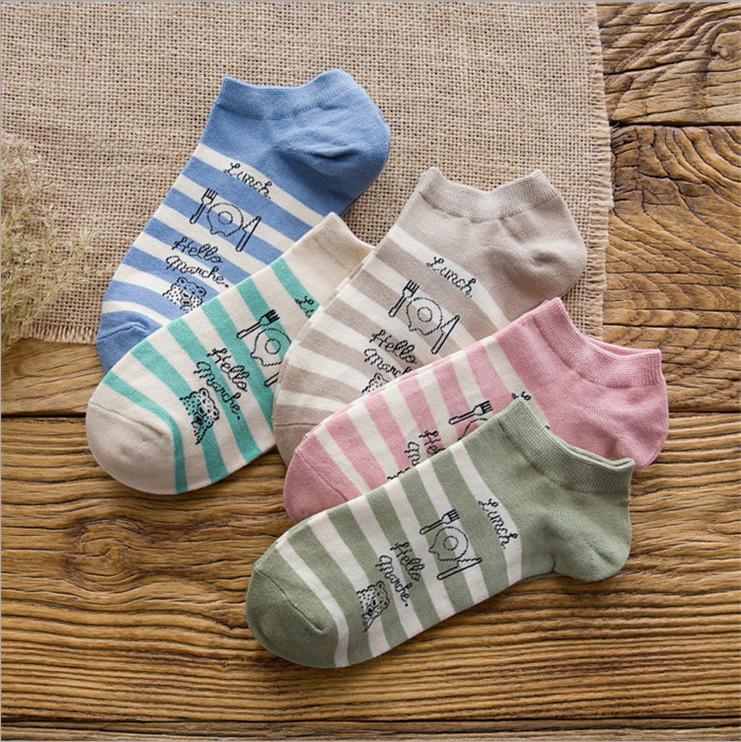 5双纯棉船袜女袜子韩国学院风夏季薄款防臭吸汗学生运动低帮浅口