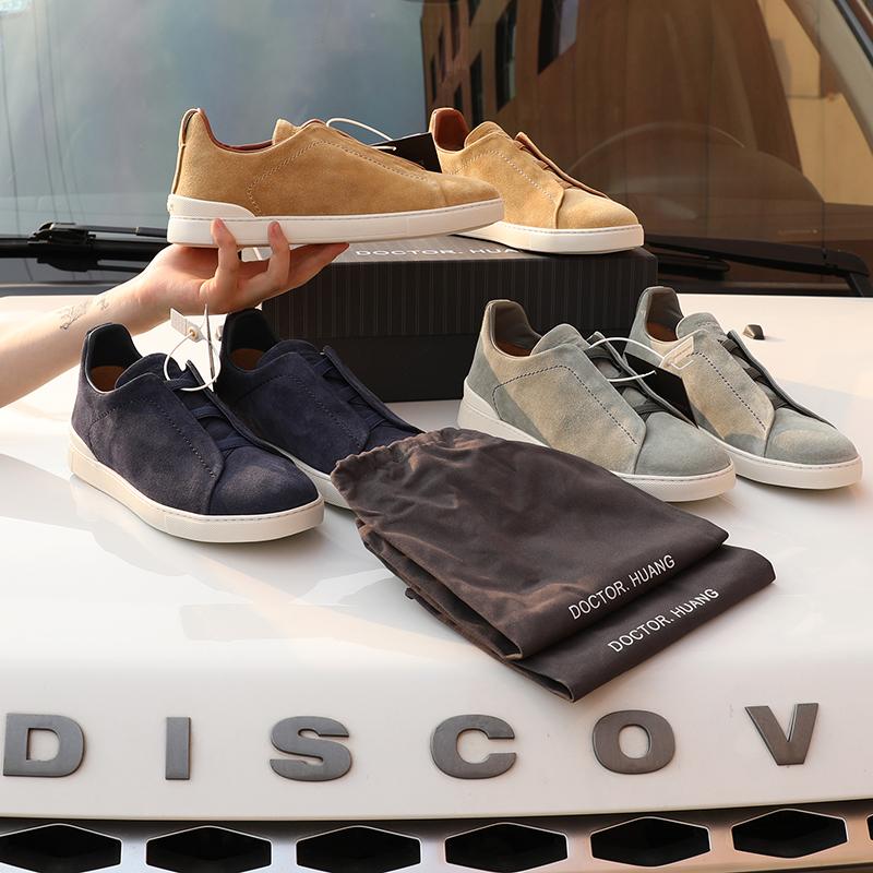 一步入夏!Italy進口超细麂皮~男士时尚真皮一脚蹬运动休闲鞋5802