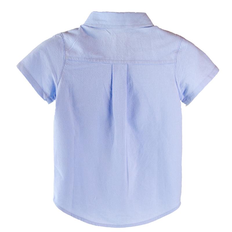男童白衬衫短袖纯棉2017夏装新款纯色宝宝翻领上衣儿童衬衣童装潮