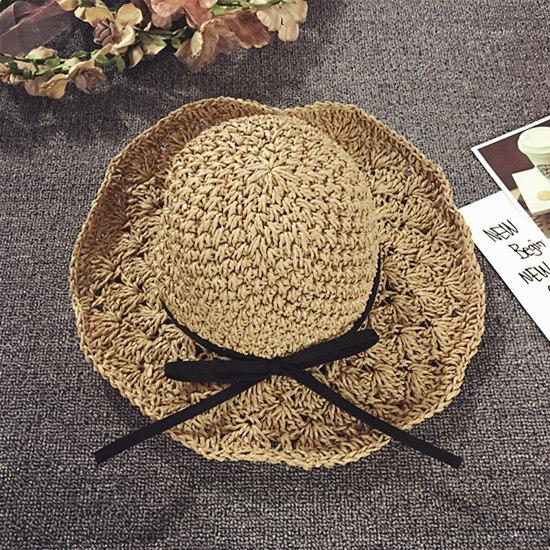 儿童草帽夏天女童沙滩帽婴儿遮阳帽海边宝宝太阳帽韩版公主防晒潮