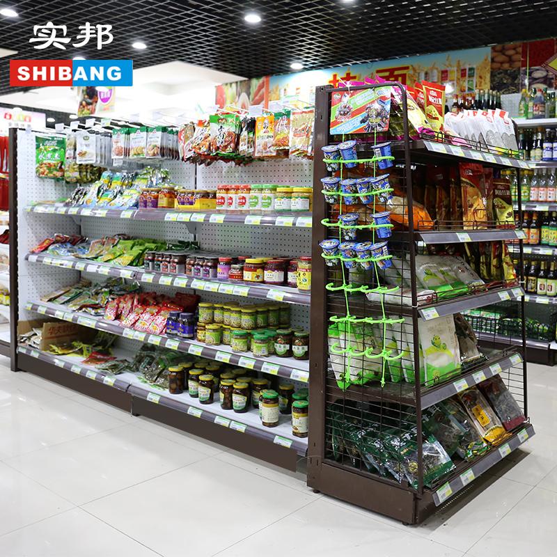 实邦超市货架展示架商店小卖部便利店零食货架药店母婴店双面货架