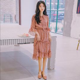 韩都衣舍2020夏季韩版短袖粉色碎花中长款气质仙女裙雪纺连衣裙女