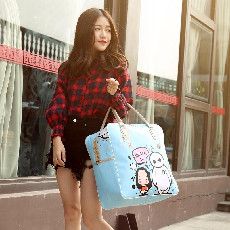 韩版可爱卡通旅行包女手提行李包学生旅行袋短途旅游包防水待产包