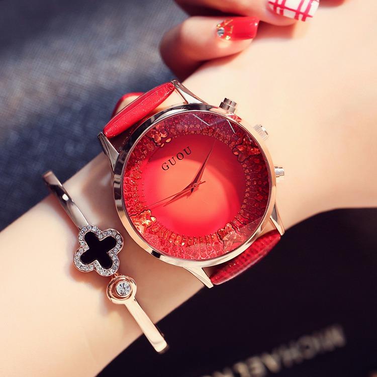 韩版潮流大表盘真皮带防水手表女切割面时装女士手表腕表 GUOU 爆款
