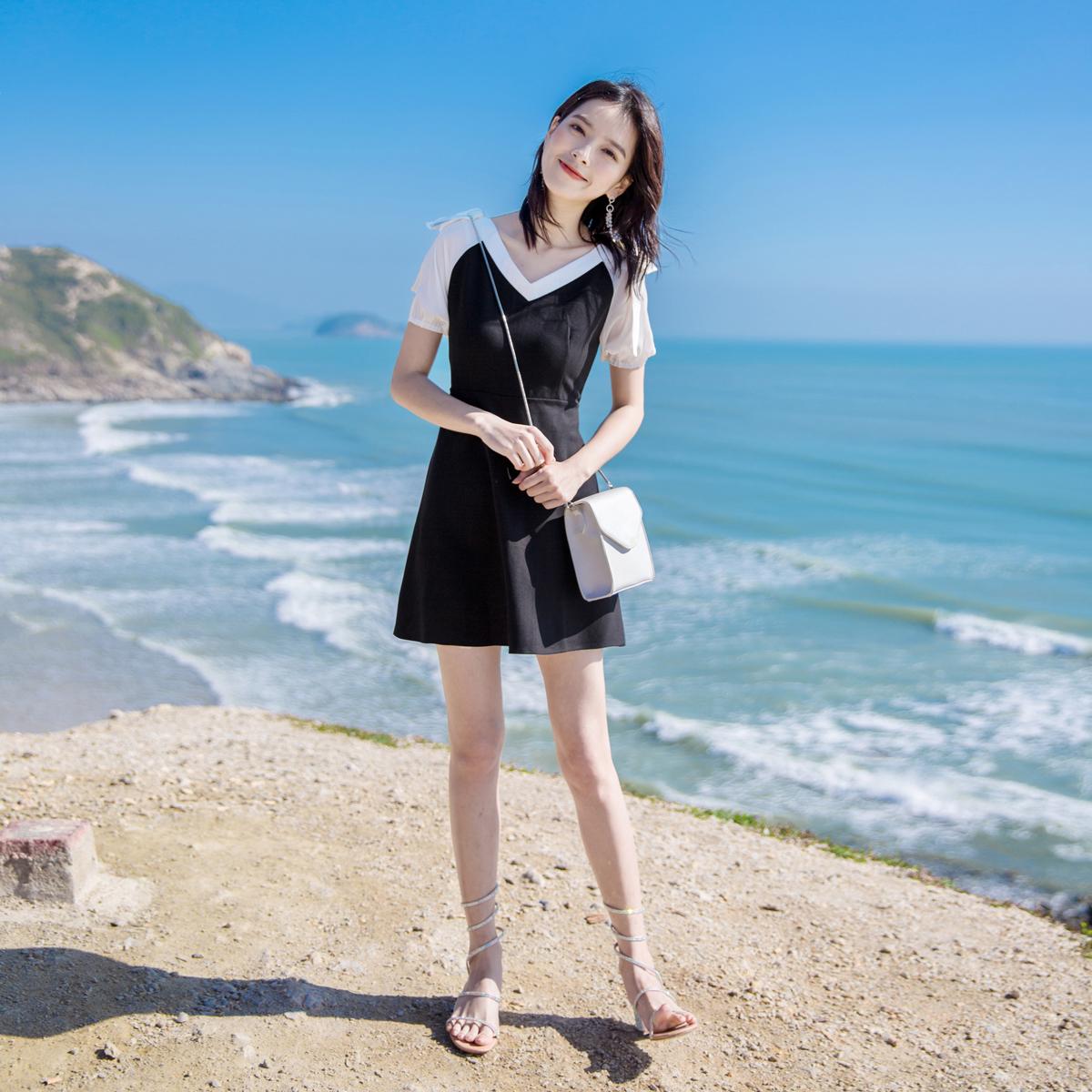 2019新款夏季女装小个子名媛气质a字V领高腰小清新裙子韩版连衣裙