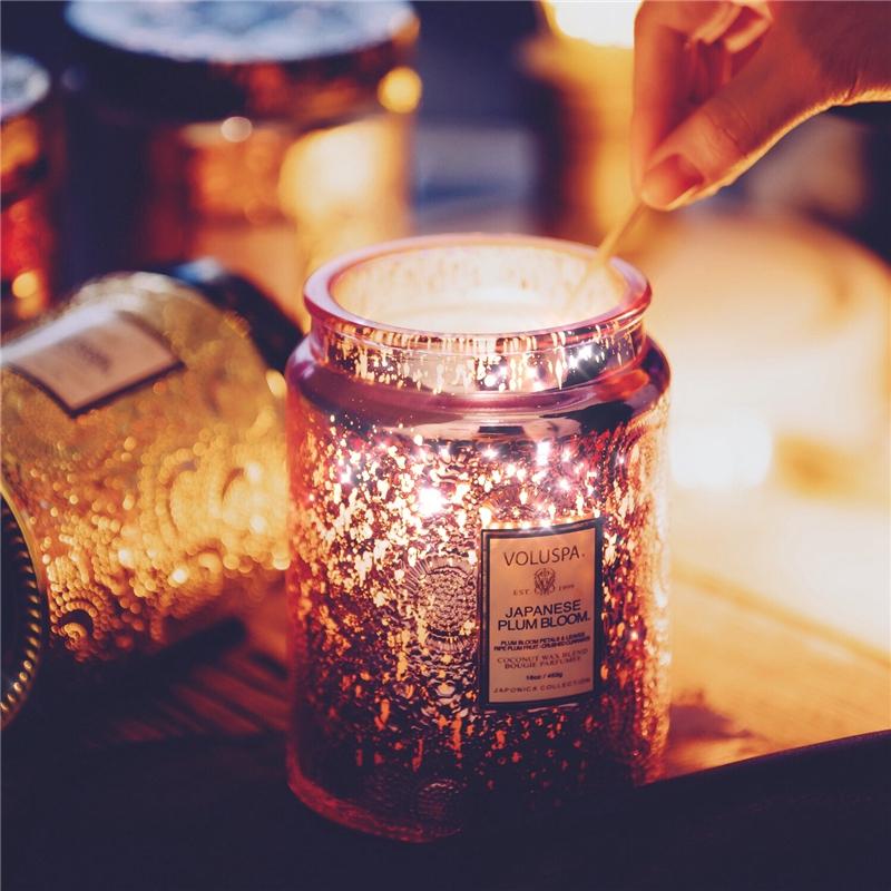 薰衣草助眠香薰无烟精油蜡烛宜家睡眠香氛 大浮雕香薰蜡烛 Voluspa