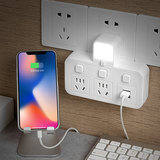 usb socket converter plug one turn two three four five wireless plug strips porous home multi-function night light