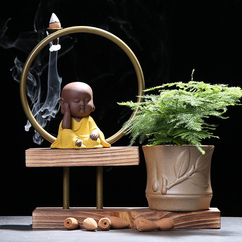 多肉小花器紫砂茶宠摆件精品可养桌面小和尚禅意大号绿植倒流香炉