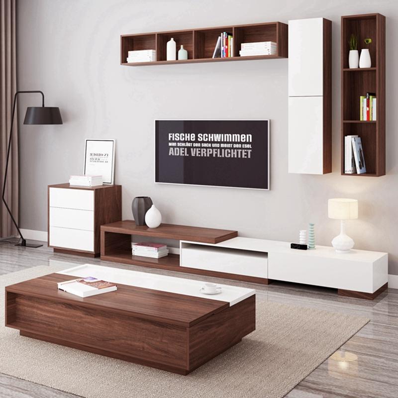 北歐伸縮電視柜茶幾組合簡約現代客廳大戶型電視機背景墻吊柜邊柜