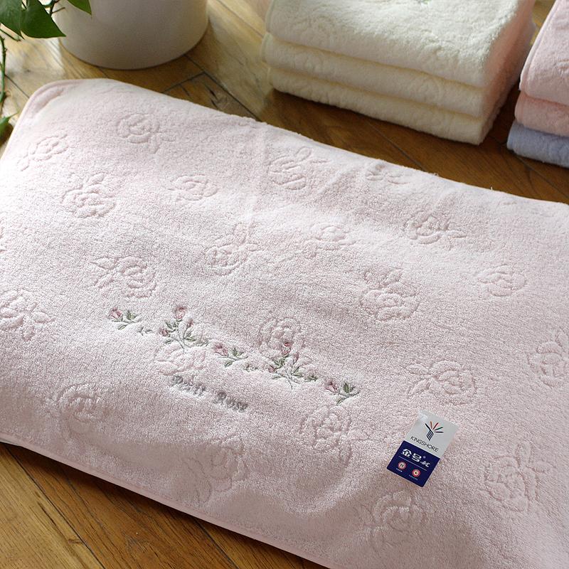 一对包邮金号正品素色纯棉柔软加厚密实枕头巾 优雅刺绣枕巾情侣