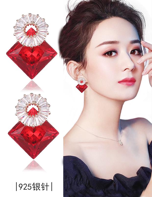赵丽颖同款红色耳钉女气质个性黑色耳饰S925银针时尚女士显瘦耳环