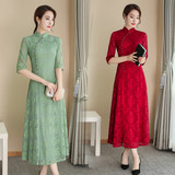 Middle-aged mother dress 2020 summer new large size women's daily lace dress mid-length modified cheongsam dress
