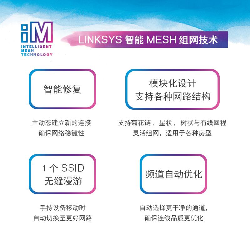 路由器两支装 wifi 网状智能分布式无线 Mesh 双频 velop 领势 Linksys