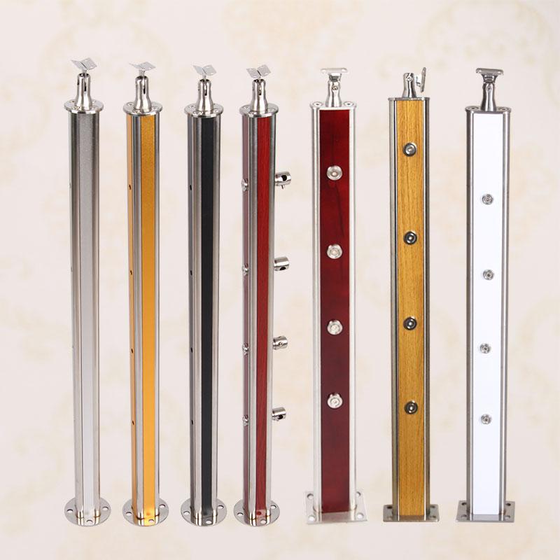室内楼梯护栏钢木楼梯扶手红木楼梯实木立柱不锈钢立柱栏杆木扶手
